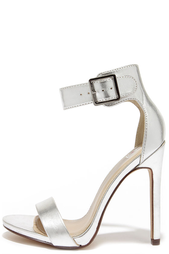 Sexy Silver Heels - Single Sole Heels - Ankle Strap Heels - $27.00
