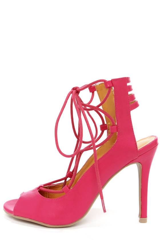 Shoe Republic LA Helice Fuchsia Lace-Up High Heels at Lulus.com!