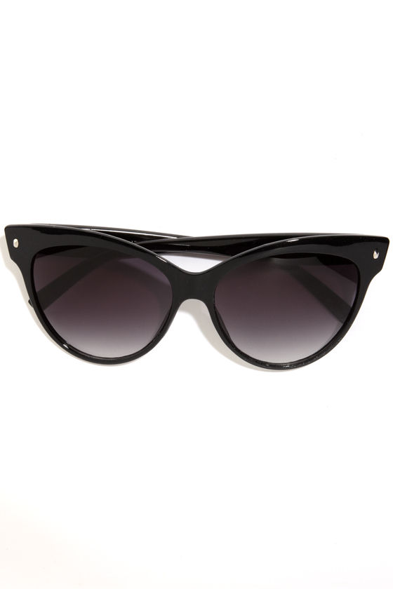 One Cool Cat-Eye Black Sunglasses at Lulus.com!