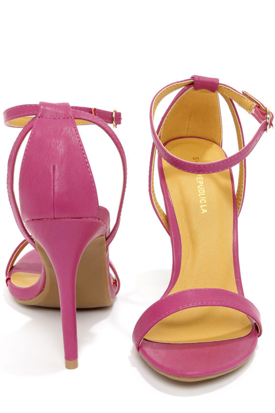 Cute Purple Heels - Ankle Strap Heels - Single Sole Heels - $28.00
