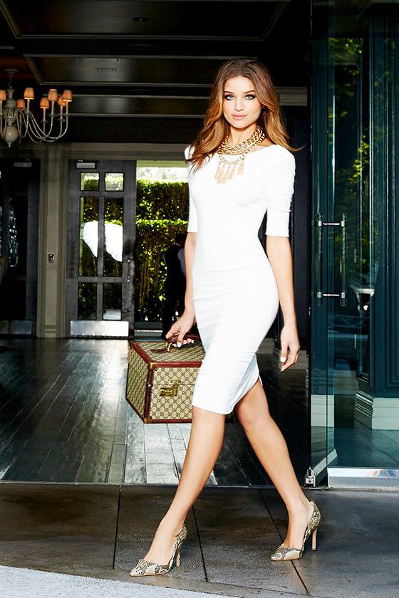 Ivory Lace Midi Dress