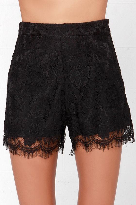 Black Shorts - Lace Short - High-Waisted Shorts - $34.00