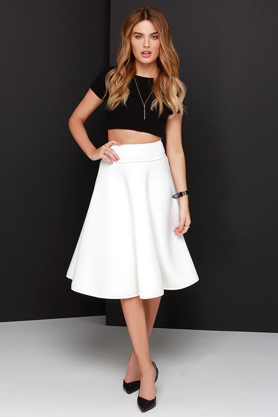 perfect quality best quality for diversified latest designs Abstract Mind Ivory Padded Midi Skirt