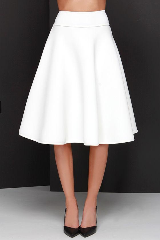 chic ivory skirt high waisted skirt midi skirt 58 00