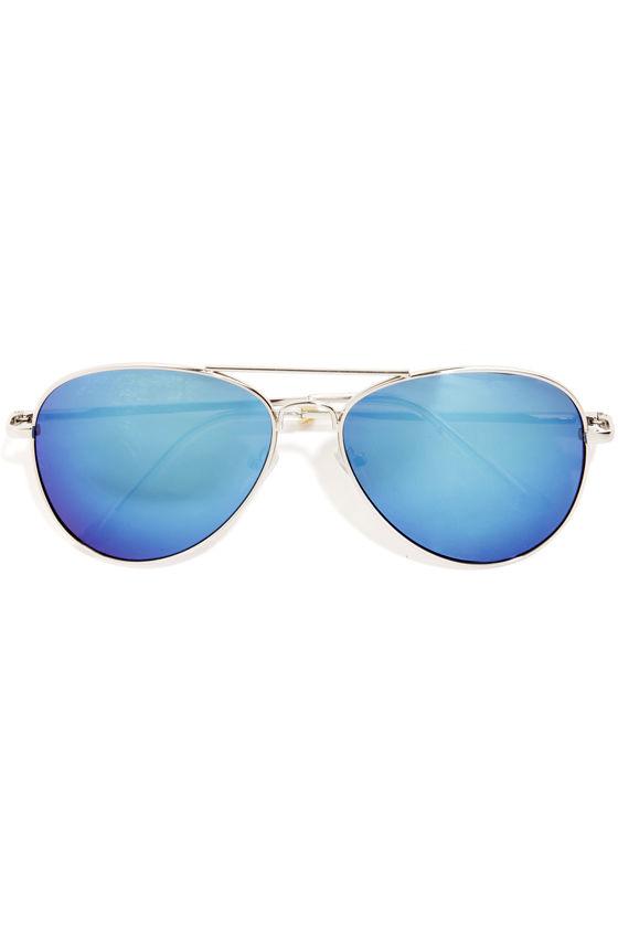 Number One Stunna Blue Aviator Sunglasses at Lulus.com!
