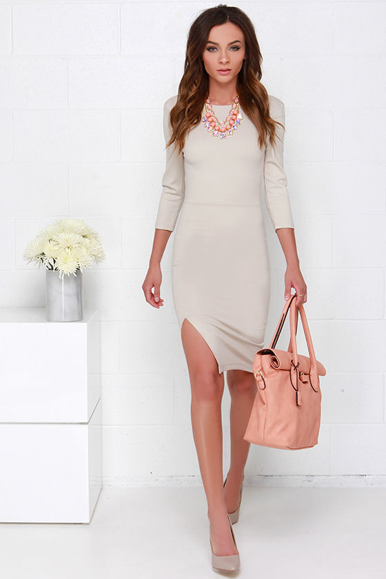 Cute Beige Dress - Midi Dress - Bodycon Dress -  39.00 1c1627a61