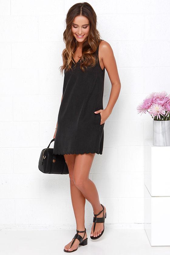 Cute Washed Black Dress - Shift Dress - Scalloped Dress - $54.00