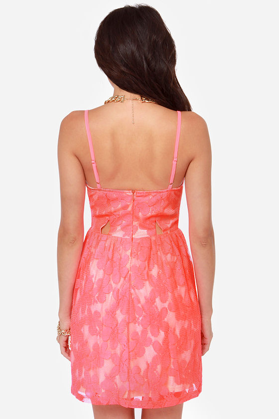 Flirt It Out Neon Coral Skater Dress at Lulus.com!
