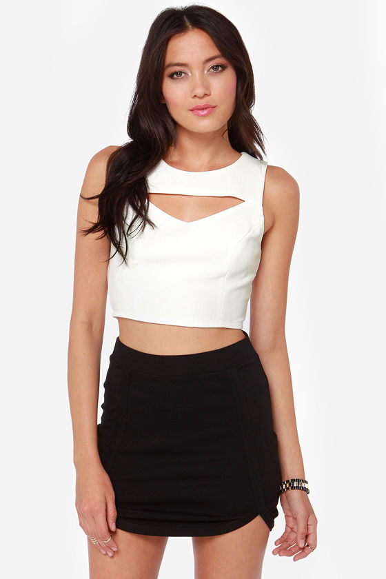 Crop on a Dime Cutout Ivory Crop Top at Lulus.com!