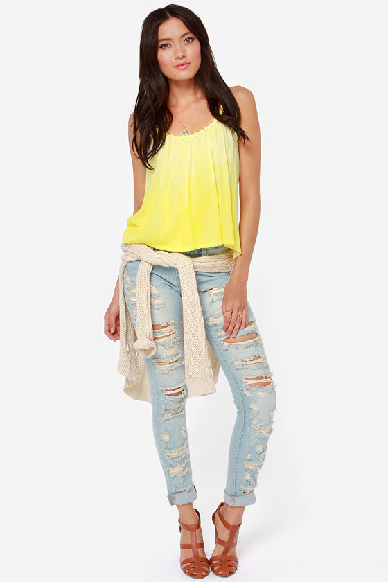 White Crow Jean Arora Yellow Tank Top at Lulus.com!