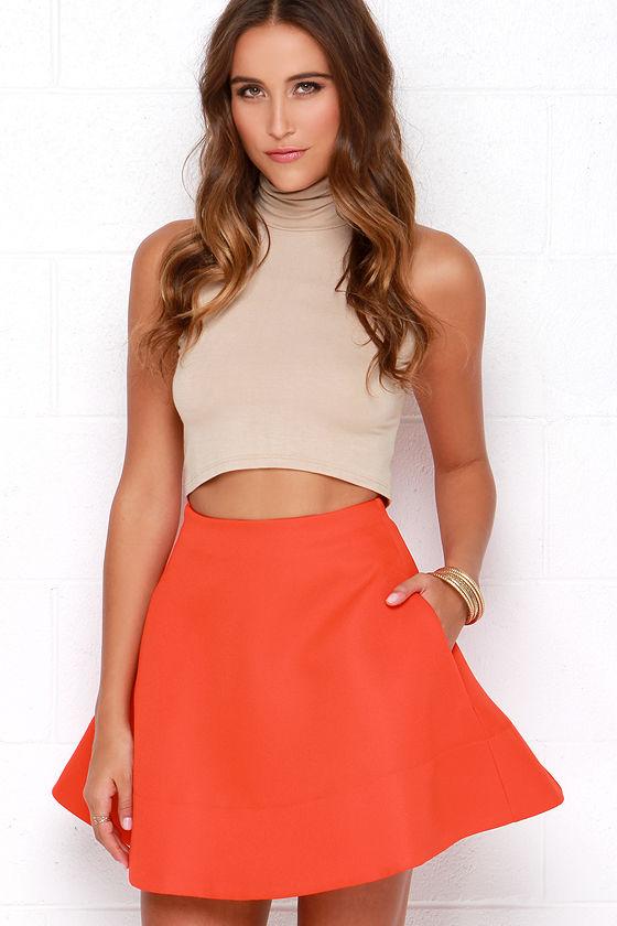 Corner Cafe Coral Red Skirt