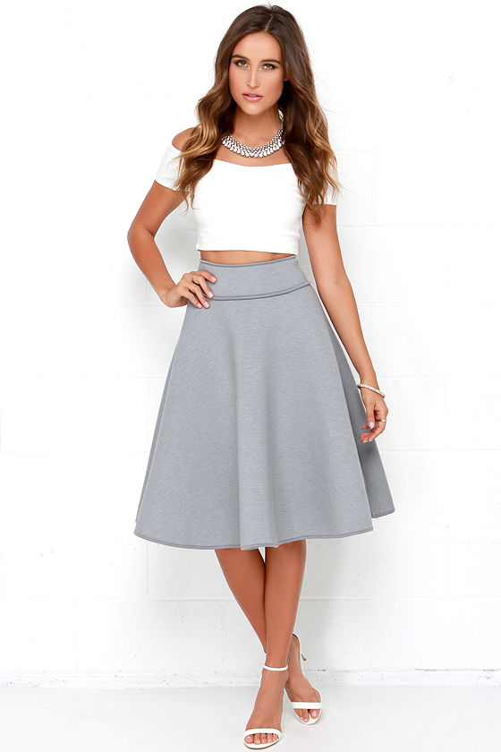 Chic Grey Skirt - High-Waisted Skirt - Midi Skirt - $58.00