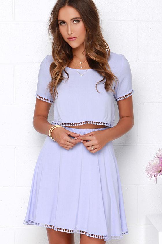 ec9ee6db6bb Cute Lavender Dress - Two-Piece Dress - Crop Top Set -  78.00