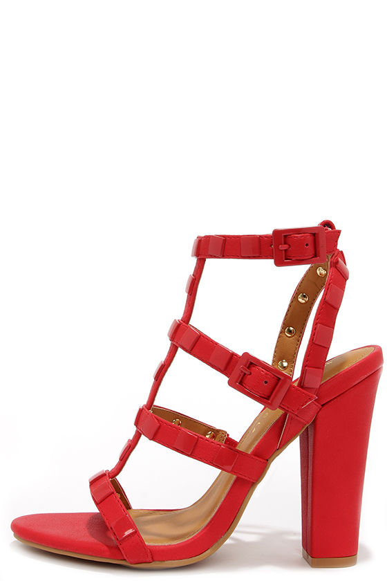 Sexy Red Heels - Studded Heels - Block
