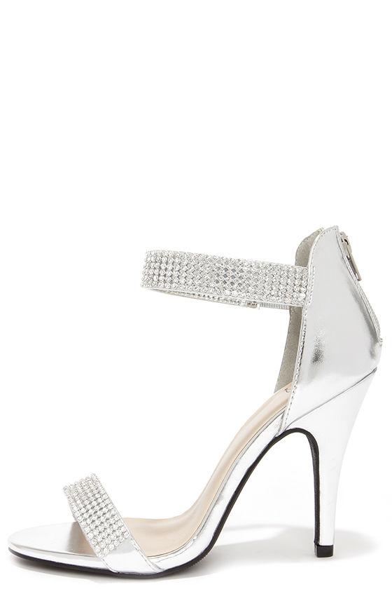 Lovely Silver Heels - Rhinestone Heels - Single Sole Heels - $32.00