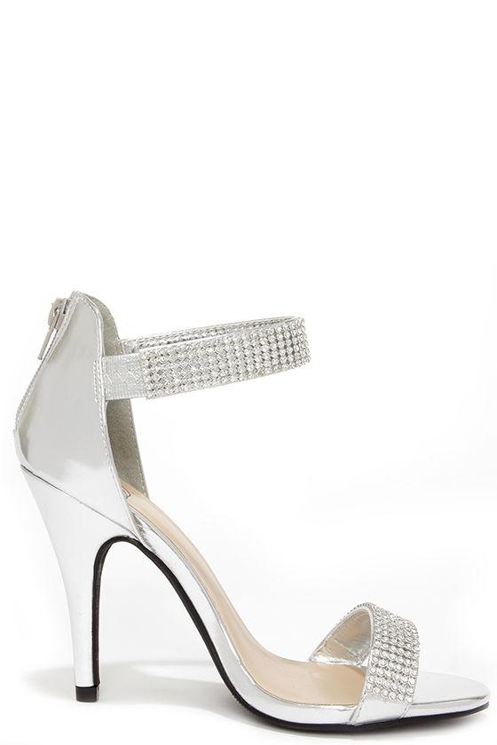 Lovely Silver Heels - Rhinestone Heels - Single Sole Heels ...