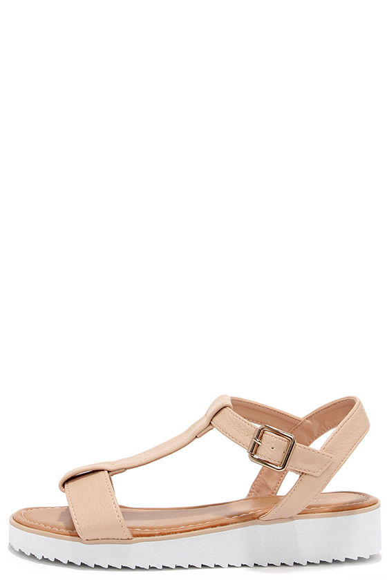 46aa983be Cute Nude Sandals - T-Strap Sandals - Flat Sandals -  23.00