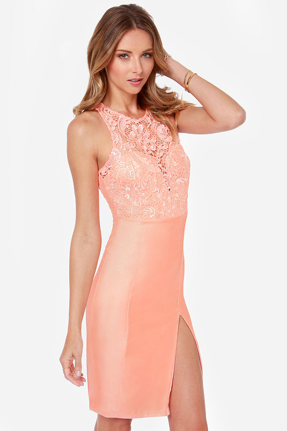 The Fox Bright Peach Lace Dress at Lulus.com!