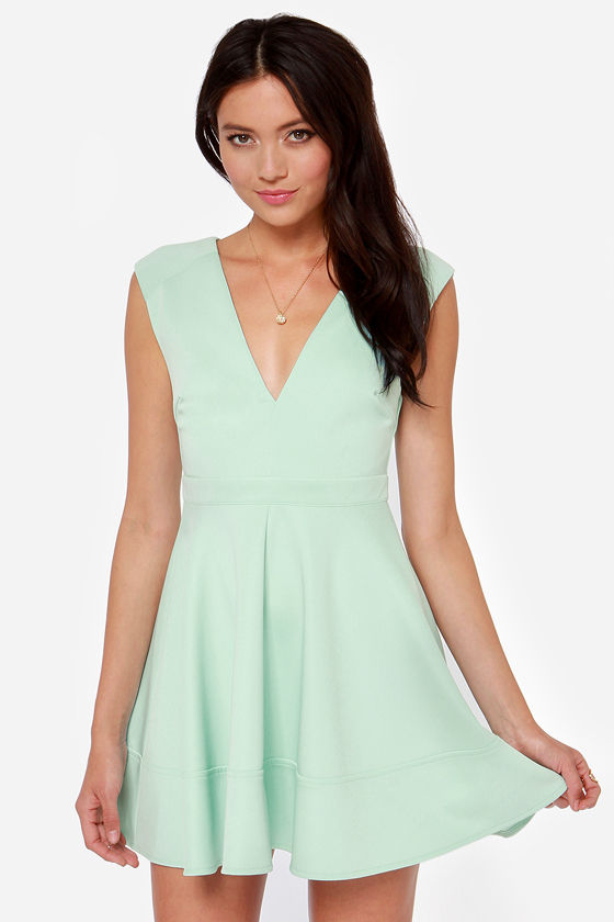 87c5e518612a Cute Blue Dress - Skater Dress - V Neck Dress - Light Blue Dress -  49.00