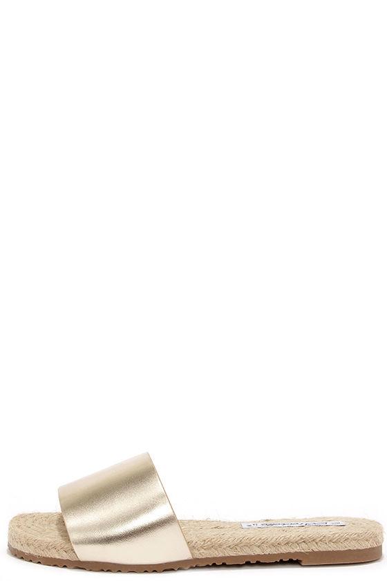 300e14ba6 Cute Gold Sandals - Espadrille Sandals - Slide Sandals -  17.00