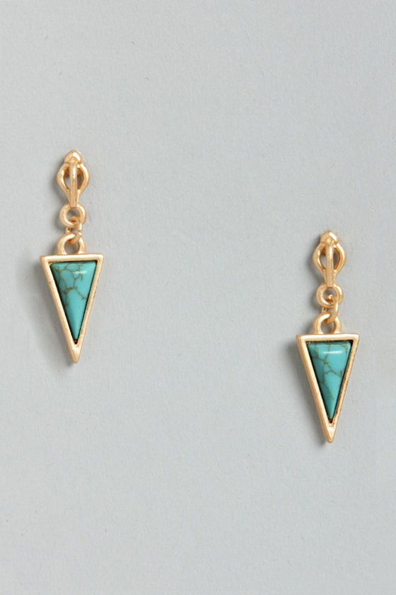 Triangular So Beautiful Turquoise Dangle Earrings at Lulus.com!