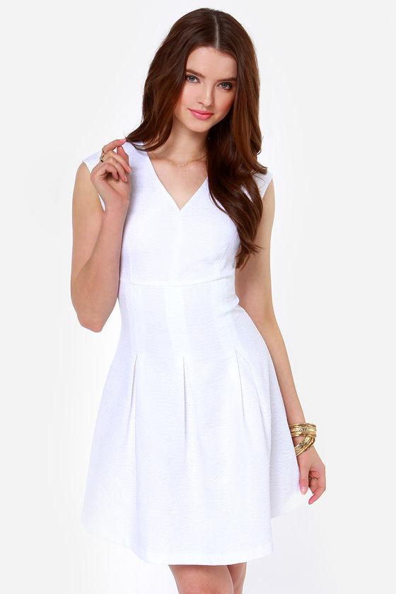 Pretty White Dress - Jacquard Dress - Pleated Dress - $85.00