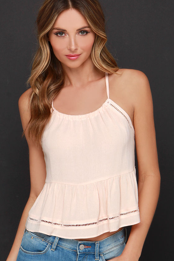 Bashful Beauty Peach Crop Top at Lulus.com!