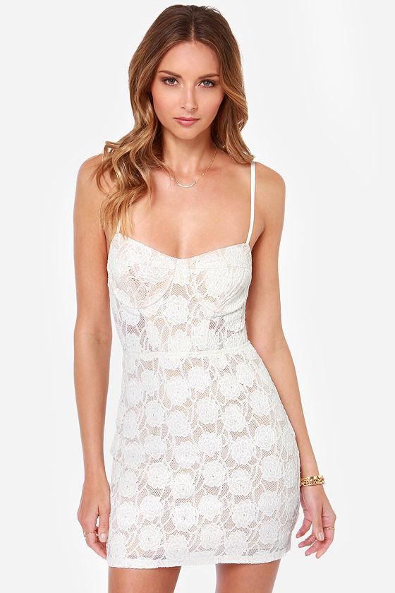 60ad0ba5116c Sexy Ivory Dress - Lace Dress - Bodycon Dress - Bustier Dress - $69.00
