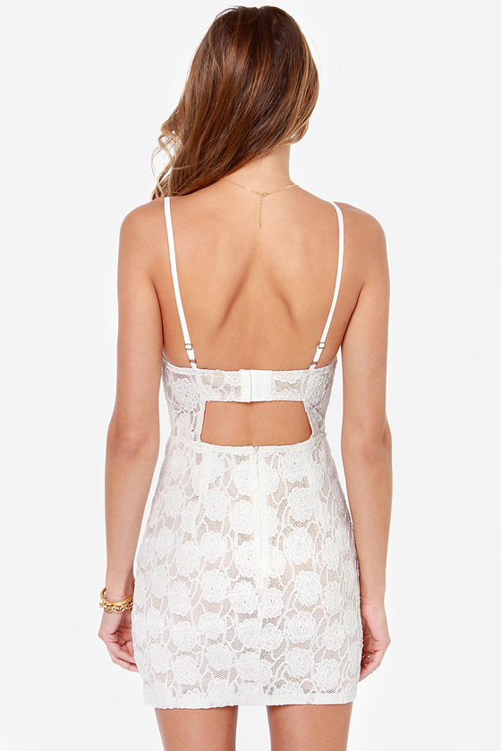 Love Me Tender Ivory Lace Bustier Dress at Lulus.com!