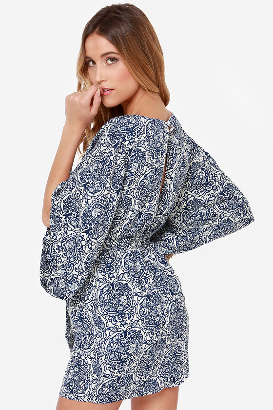 Kimono My Blue Print Dress at Lulus.com!