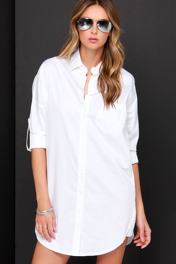 Ivory Button-Up Dress - White Collared Dress - Shirt Dress - $54.00