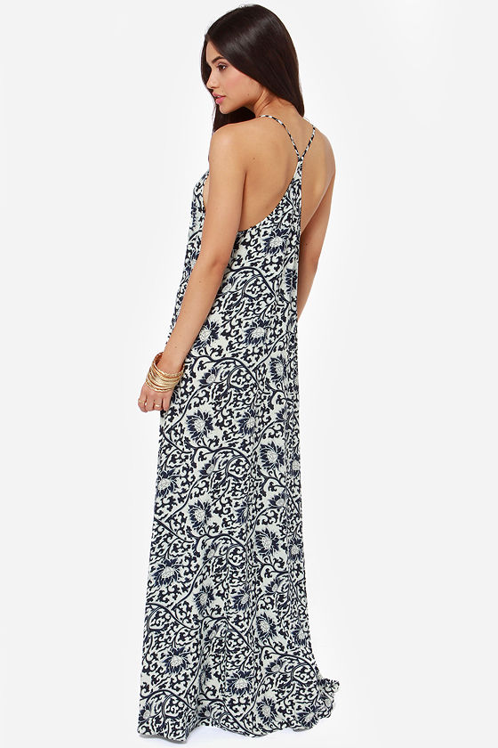All Directions Navy Blue Floral Print Maxi Dress at Lulus.com!