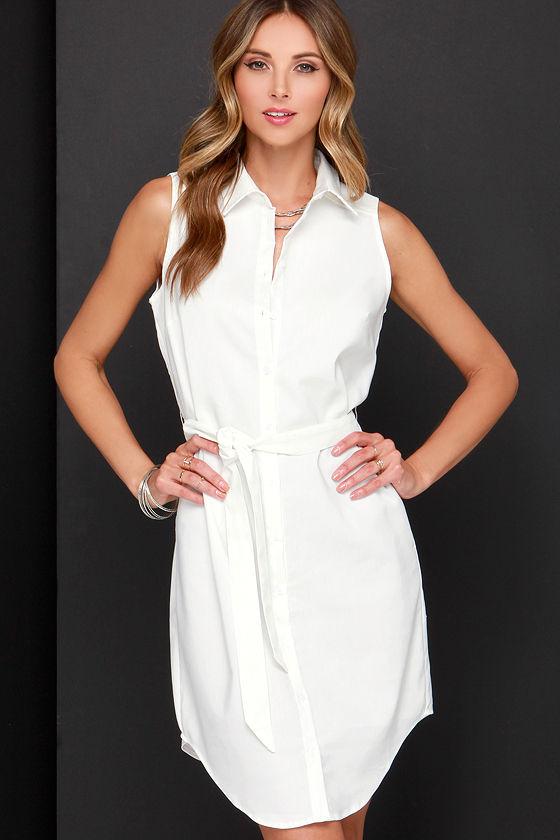 d7010cf23d2 Cute Ivory Dress - Shirt Dress - Sleeveless Dress - Belted Dress -  58.00