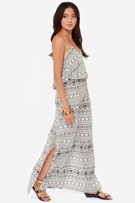 da468ce7468 Pretty Ivory Dress - Maxi Dress - Aztec Print Dress -  47.00