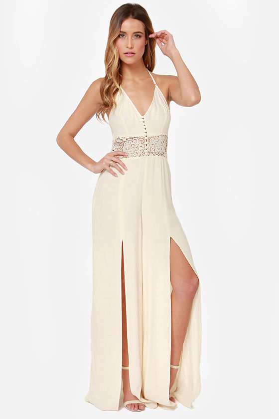 Time to Split Cream Lace Jumpsuit at Lulus.com!