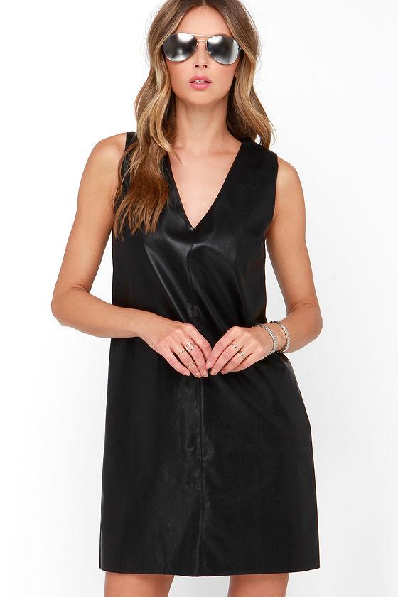 Chic Vegan Leather Dress Black Shift Dress Sleeveless Dress 5400