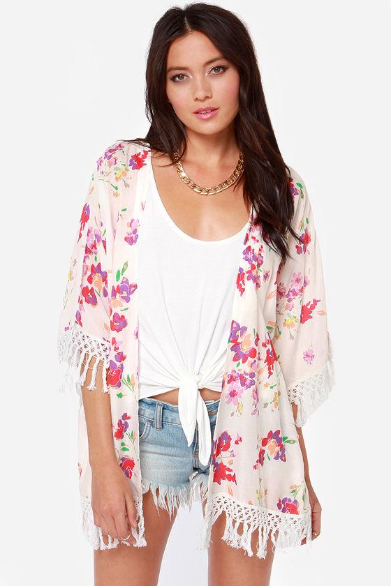 O'Neill Candice Top - Floral Print Kimono - Kimono Top ...