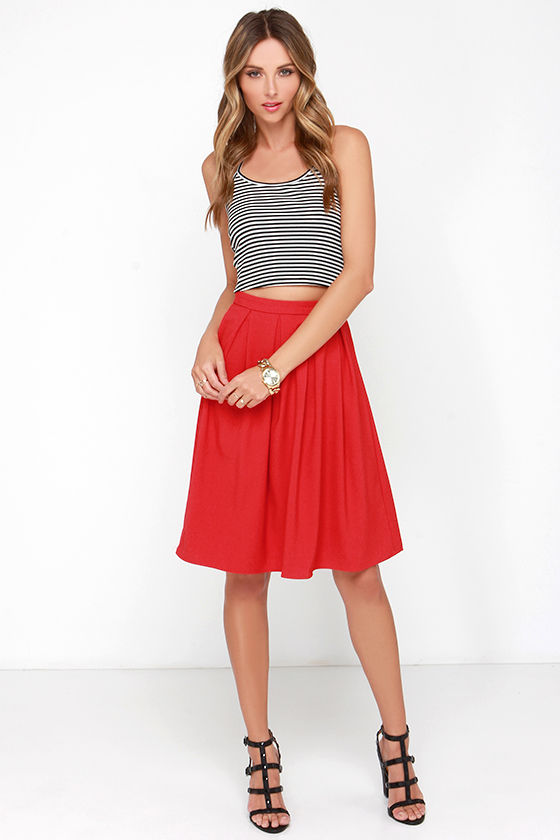 Lovely Red Skirt - Midi Skirt - Pleated Skirt - High-Waisted Skirt ...