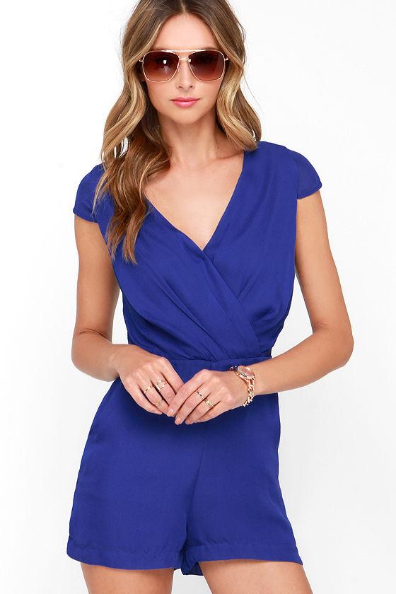 f63a37714dae Pretty Royal Blue Romper - Short Sleeved Romper - Surplice Romper -  44.00