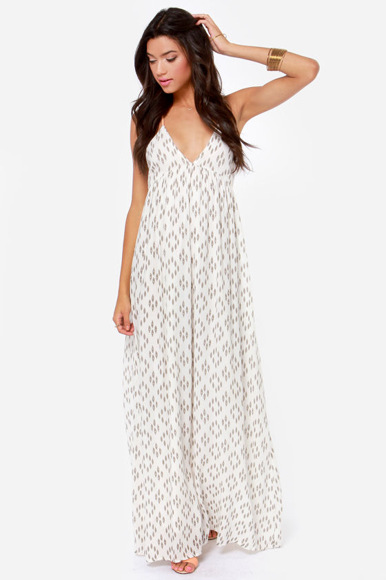 O'Neill Diane Ivory Print Backless Maxi Dress at Lulus.com!