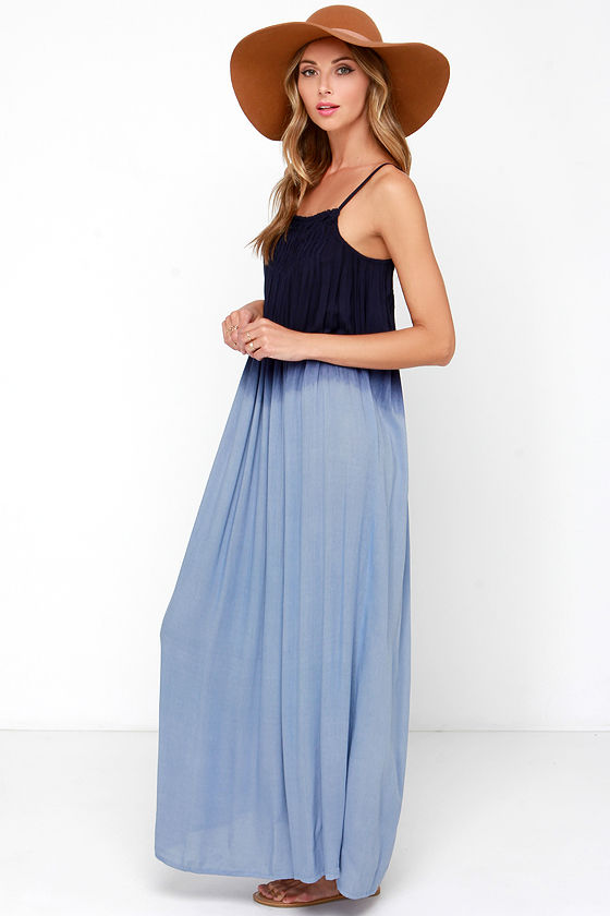 Dip-Dye Dress - Blue Maxi Dress - $45.00