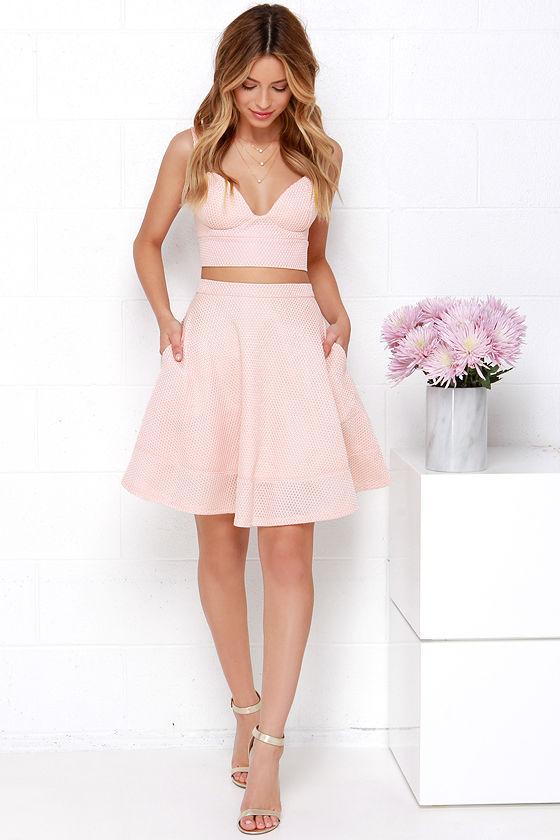 Two-Piece Dress - Blush Pink Dress - Bustier Dress - $65.00