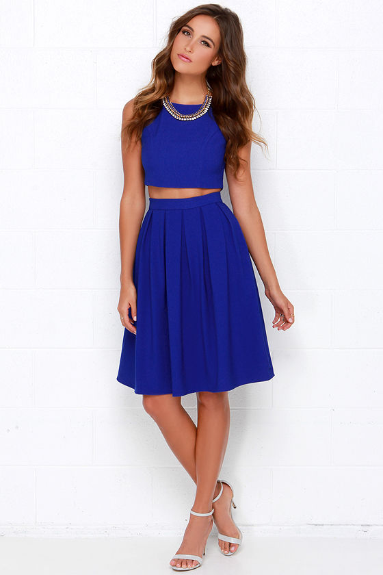Royal Blue Two Piece Dress Pleated Matching Set