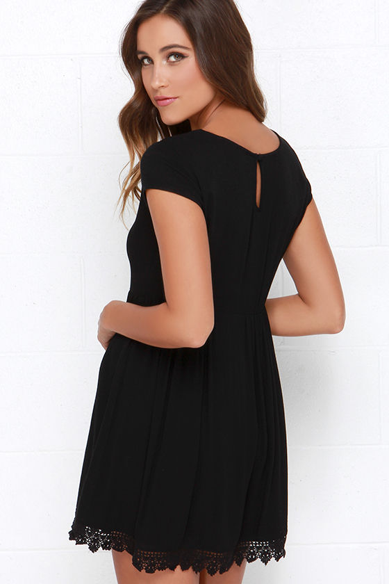 Black Short Sleeve Dress - Black Crochet Dress - Babydoll Dress ...