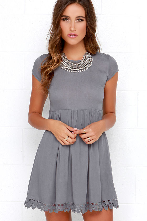 Grey Short Sleeve Dress - Grey Crochet Dress - Babydoll Dress - $48.00