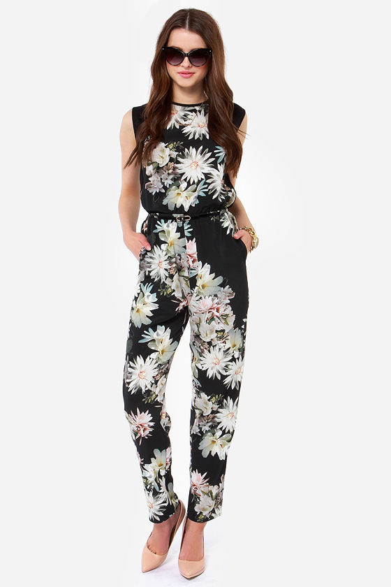 Cute Floral Print Jumpsuit Black Jumpsuit Sleeveless