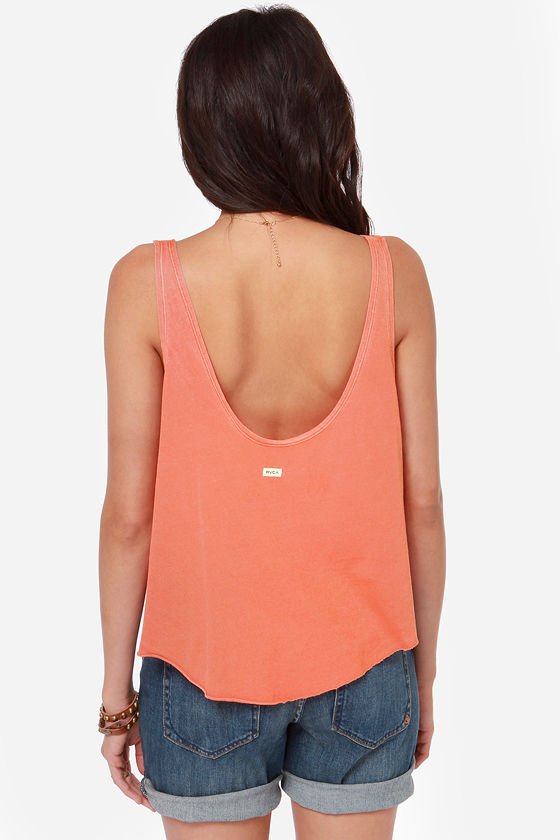 RVCA Label Drape Washed Coral Orange Tank Top at Lulus.com!