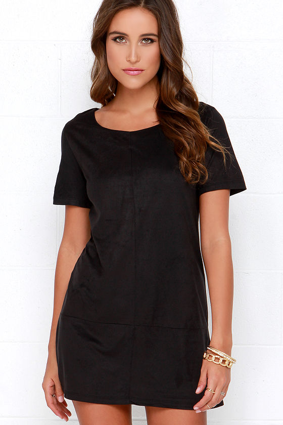 b6305332a94 Vegan Suede Dress - Black Shift Dress -  74.00