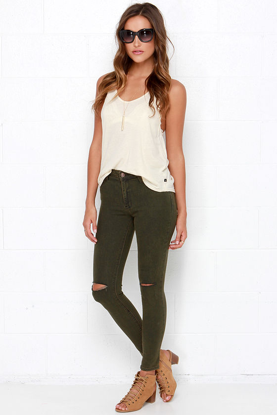 e7c5c624c9 Distressed Skinny Jeans - Dark Green Jeans - Stretch Denim Jeans -  64.00