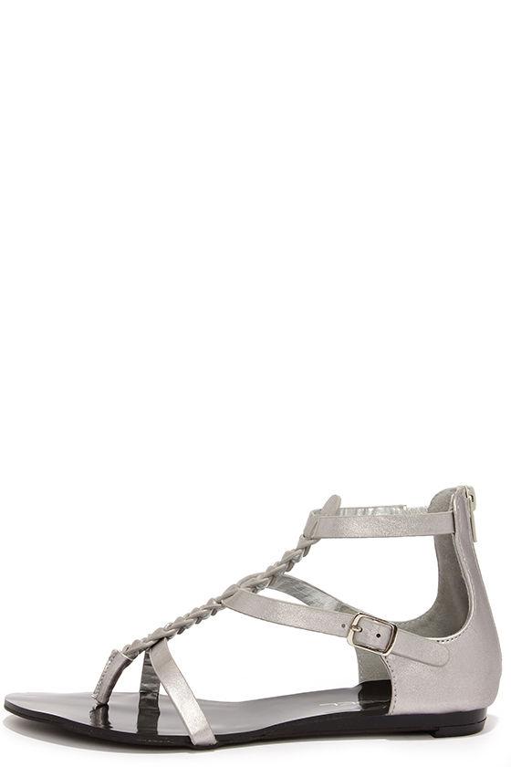 bce9d2d7a3a0 Cute Silver Sandals - Flat Sandals - Gladiator Sandals -  30.00